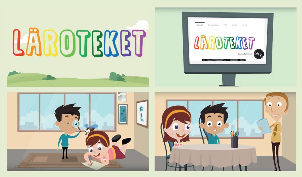 Grafik från Läroteket som visar en skola och två skolelever.